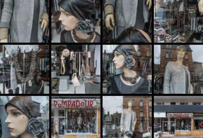 Schaufenster mit Modepuppen.
